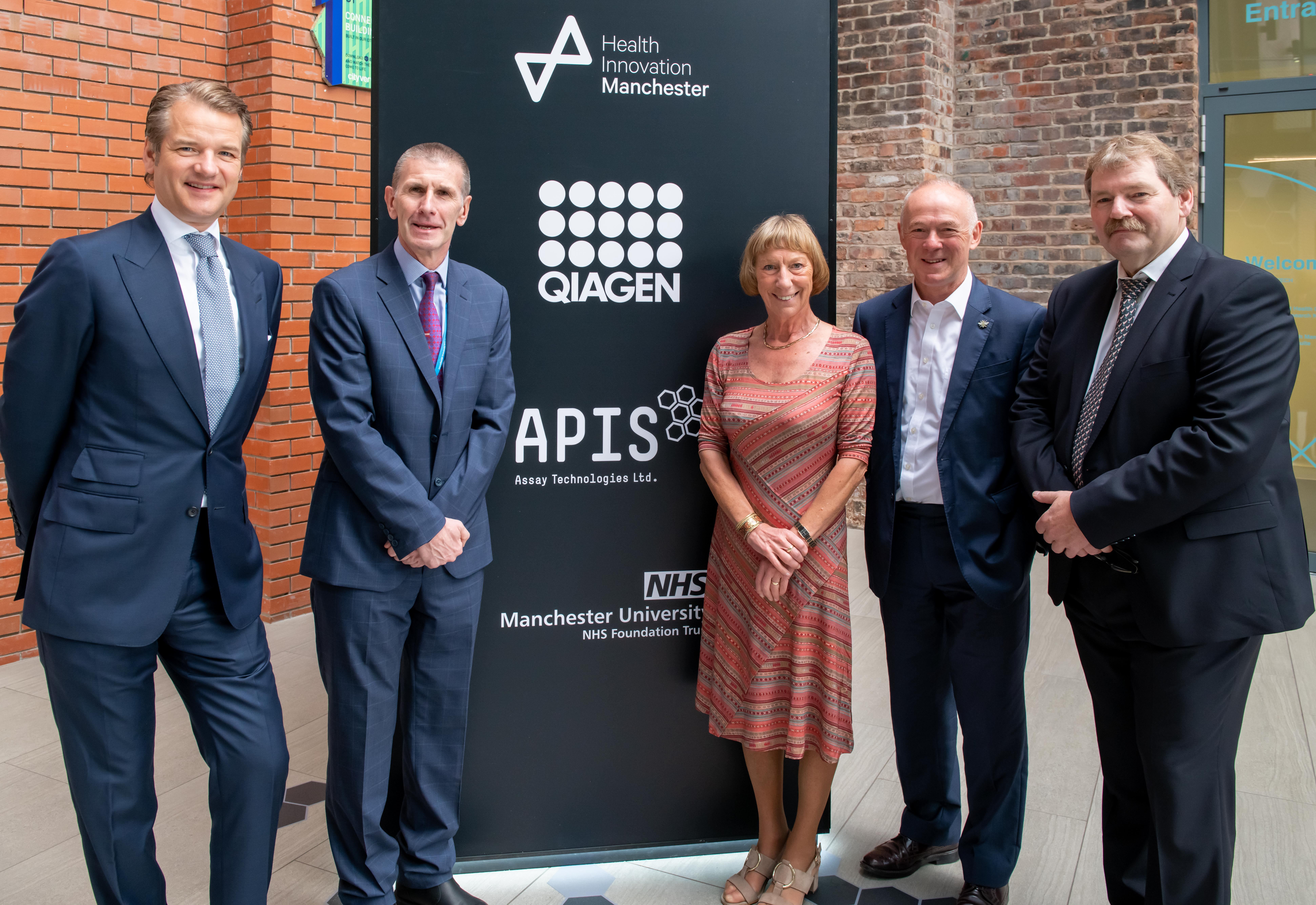 Health Innovation Manchester APIS event. PIC L-R: Peer Schatz, Mike Deegan, Rowena Burns, Sir Richard Leese and Joachim Schorr.
