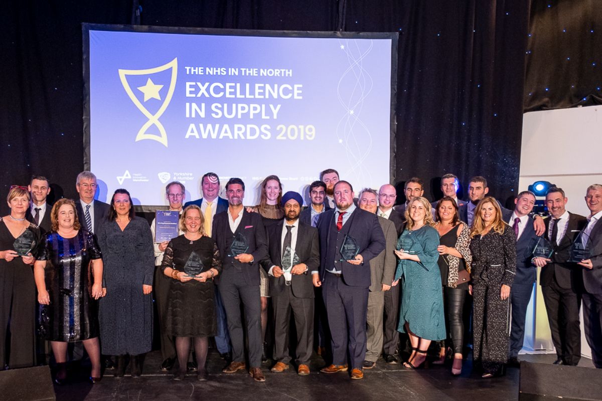 Winners on stage at the NHS in the North Excellence in Supply Awards Ceremony 2019