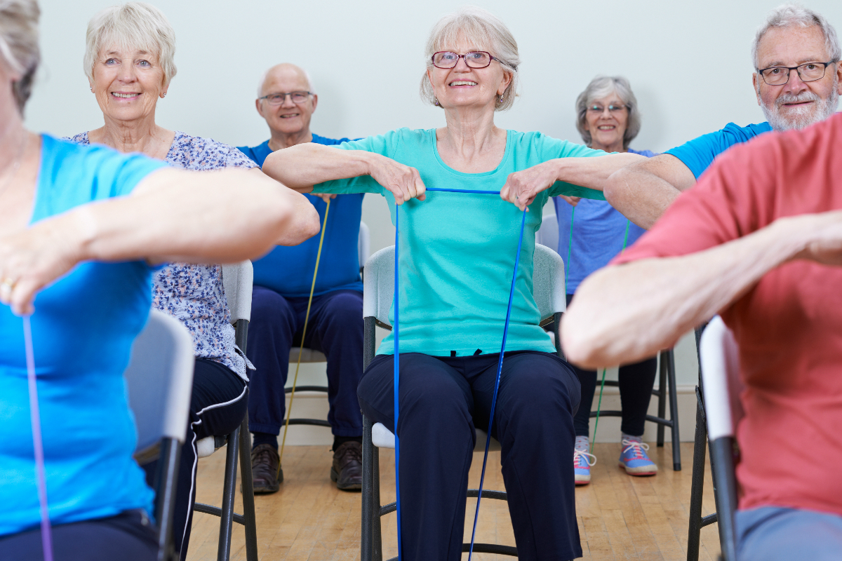 Group taking part in a chair-based exercise class