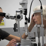A patient is examined at the new Trafford Macular Eye Clinic