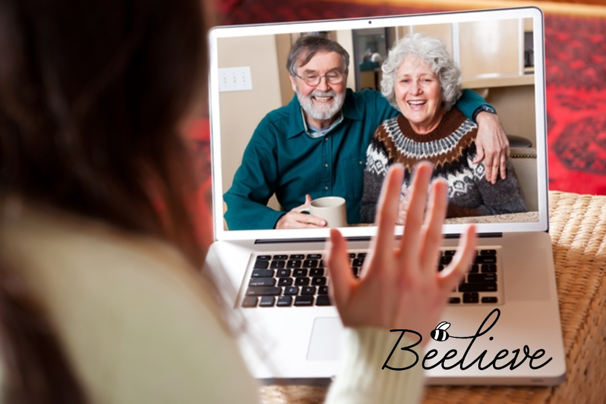 Beelieve Mental Health Campaign Image - family chatting via a video call