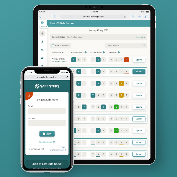 Care Home COVID-19 Tracker Displayed on a tablet and mobile phone