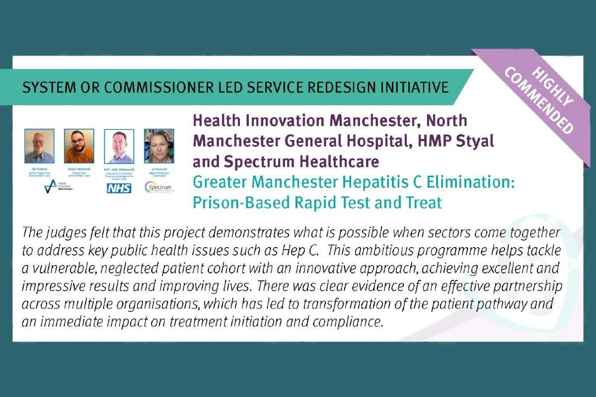 HSJ Value Awards Hepatitis C Highly Commended