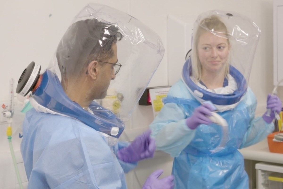 Frontline medical staff at Manchester University NHS Foundation Trust wearing innovative PPE respirator designed by medical staff in the fight against COVID-19