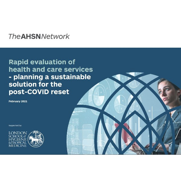 Front page of the Rapid Evaluation of health and care services - planning a sustainable solution for the post-COVID reset Report