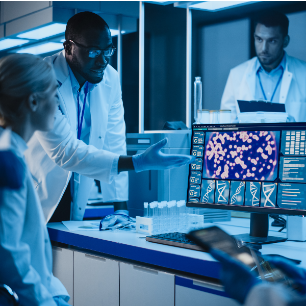 iple Health researchers looking and clinical research on a computer screen